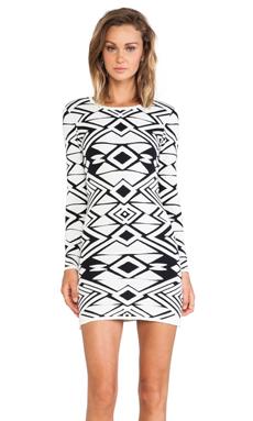 Parker Eve Knit Dress in Black & Ivory