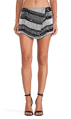Parker Zee Embellished Shorts in Black & Ivory