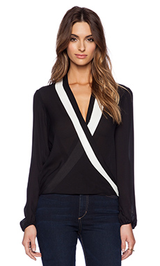 Parker Jude Combo Blouse in Black