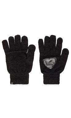 Plush Heart Patch Smartphone Glove in Black
