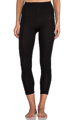 Plush Footless Fleece Lined Leggings in Black