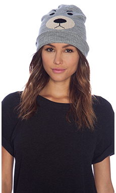 Plush Bear Beanie in Heather Grey
