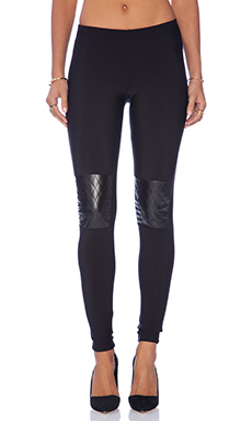 Plush Quilted Knee Patch Legging in Black
