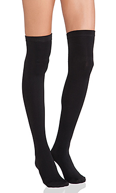 Plush Thigh High Fleece Lined Leggings in Black