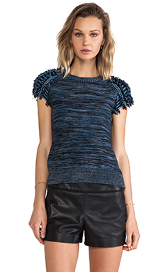 primary Fringe Sweater Tee in Chambray & Black