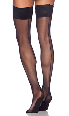 Pretty Polly Backseam Thigh High in Black