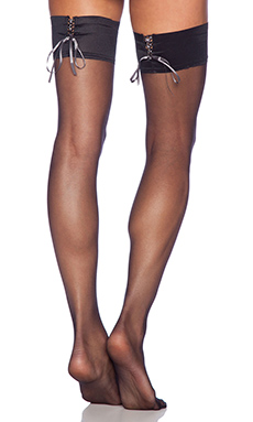 Pretty Polly Corset Style Lace Up Thigh High in Black