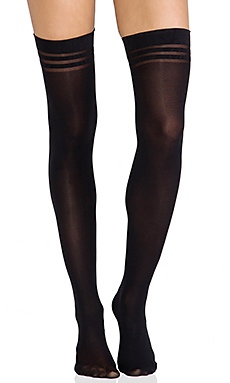 Alice and Olivia by Pretty Polly Super Lovely Basics Opaque Thigh High Tights in Black