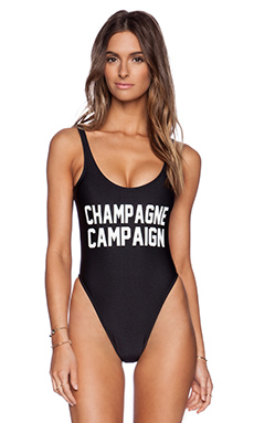 Private Party Champagne Campaign Swimsuit in Black