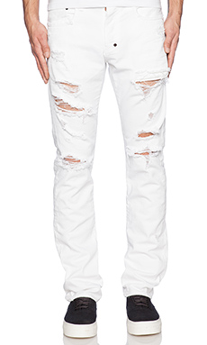 PRPS Japan Demon Fit Destroyed Jean in White