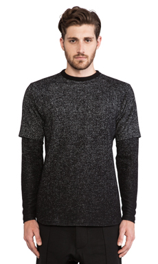 Public School Speckled Ombre Crewneck Inset Sleeve in Black