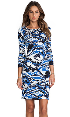 Rachel Pally Jersey 3/4 Sleeve Bianca Dress in Blue Digital