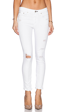 rag & bone/JEAN The Zipper Capri in Bright White Shredded