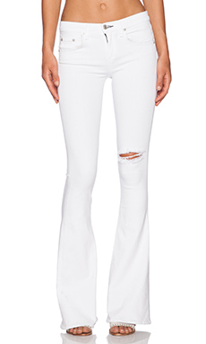 rag & bone/JEAN High Rise Bell in Bright White Rip