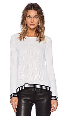 rag & bone/JEAN Nikki Split Back Pullover in White & Black