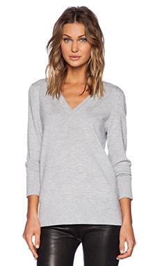 rag & bone/JEAN Natalie V Neck Sweater in Light Grey Melange