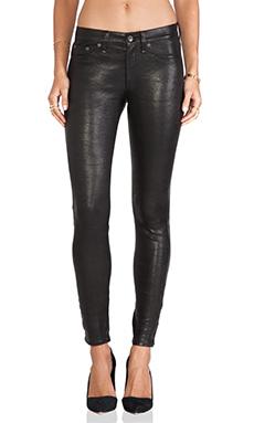 rag & bone/JEAN The Leather Skinny in Washed Black