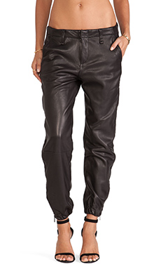 rag & bone/JEAN Zipper Pajama Pant in Black Leather