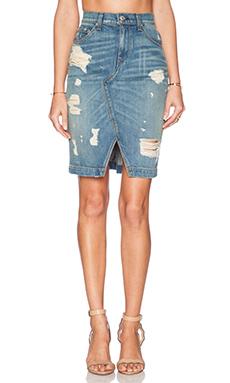 rag & bone/JEAN Denim Skirt in Shredded