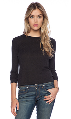 rag & bone/JEAN Rai Cropped Long Sleeve Tee in Charcoal