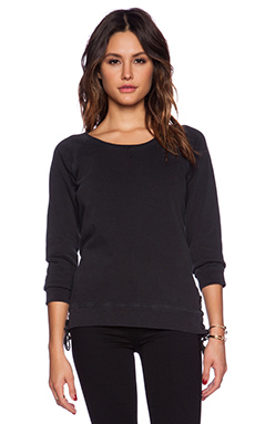 Ragdoll Lace Up Sweatshirt in Faded Black