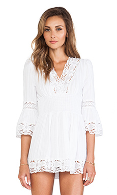 Raga Long Sleeve Boho Dress in White