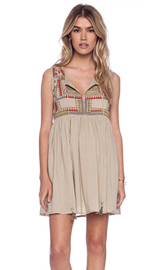 Raga Embroidered Dress in Beige