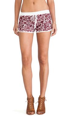Raga Embroidered Mini Shorts in Maroon