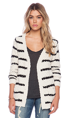 Raga Striped Cardigan in Black & White