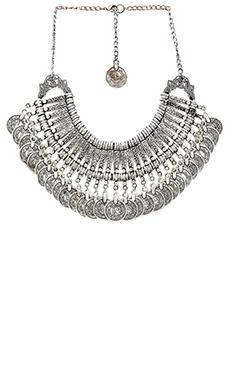 Raga Drop Coin Bib Necklace in Silver