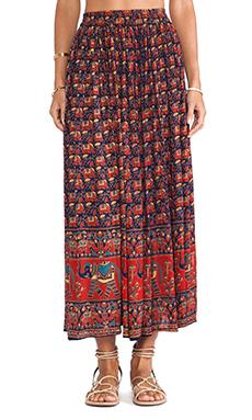 Raga Maxi Skirt in Navy Print