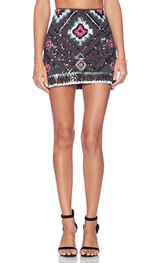 Raga Embellished Mini Skirt in Grey