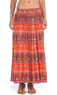 Raga Printed Maxi Skirt in Orange