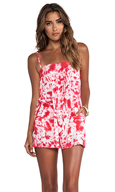 Raga Tie Dye Romper in Poppy Red
