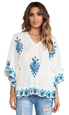 Raga Embroidered Batwing Blouse in Turquoise