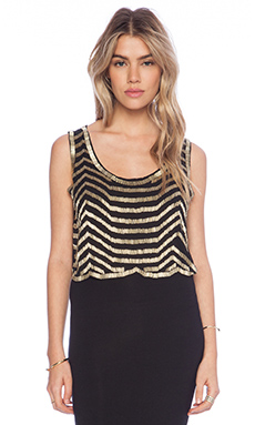 Raga Embellished Tank in Black & Gold