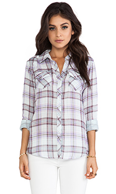 Rails Kendra Cotton Button Down in Mint/Purple