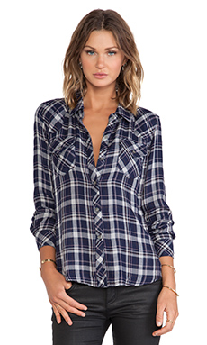 Rails Kendra Button Down in Navy & Gray