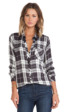 Rails Hunter Button Down in Charcoal & White