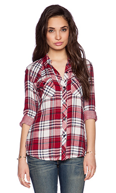 Rails Kendra Button Down in White & Merlot