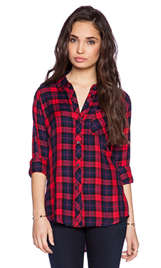 Rails Hunter Button Down in Scarlet & Indigo