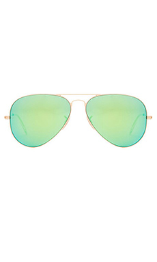 Ray-Ban Large Metal Aviator in Matte Gold & Grey Mirror Green
