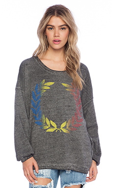 Rebel Yell Rainbow Crest Strokes Warm Up Sweatshirt in Heather Gray