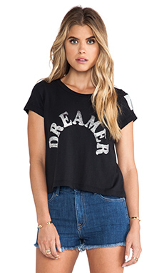 Rebel Yell Dreamer Crop Tee in Black