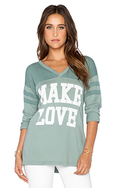 Rebel Yell Make Love Jersey Tee in Seafoam