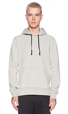 Reigning Champ Pullover Hoodie with Side Zip in Heather Grey