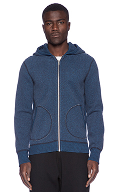 Reigning Champ Full Zip Hoodie in Navy/Pacific