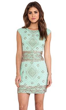 renzo + kai Embellished Cap Sleeve Dress in Mint & Rosegold