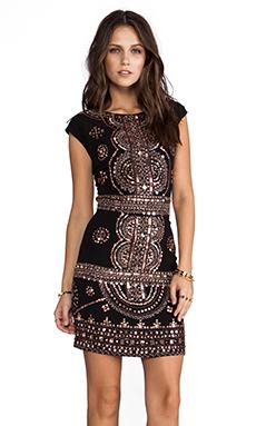 renzo + kai Cap Sleeve Laura Dress in Black/Gold