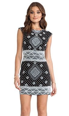 renzo + kai Embellished Cap Sleeve Dress in Black & White